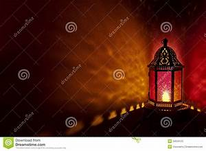 Moroccan Lantern With Colored Glass At Night Time Royalty ...
