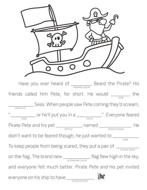 make your own fill in the blank stories learning liftoff 380 | MadLib PiratePete