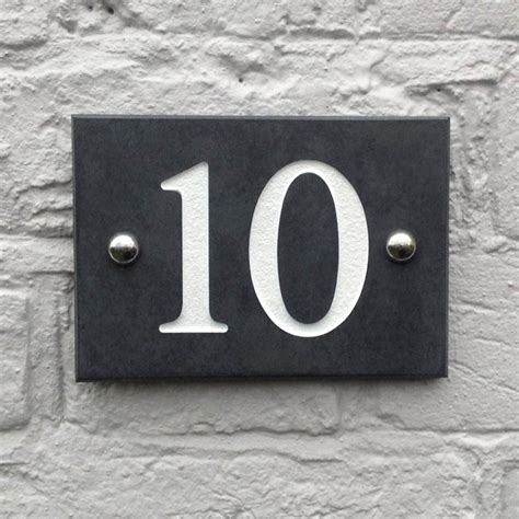 personalised smooth slate house number signs   love