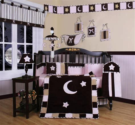 geenny pink brown moon star pcs crib bedding set