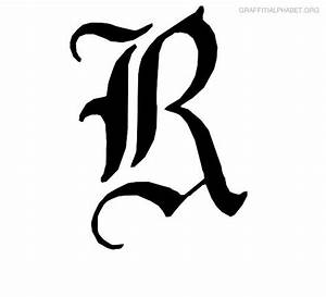 Free coloring pages of letter r in graffiti