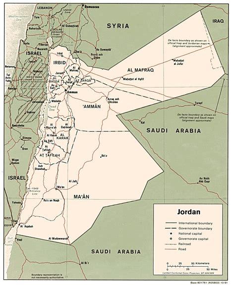 detailed road  administrative map  jordan jordan