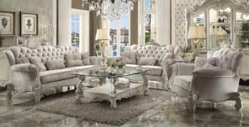 Acme Dining Room Set by Versailles Traditional Ivory Velvet Formal Living Room Set