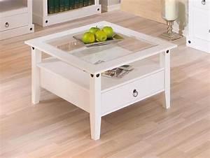 Table Salon Carrée : table basse 1 tiroir provence blanc ~ Teatrodelosmanantiales.com Idées de Décoration