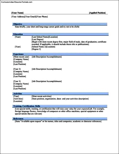 Free Resume Templates For Word 2010 by Word 2010 Resume Template Free Sles