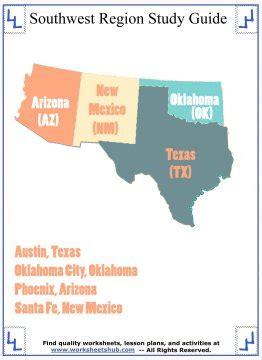 worksheets   southwest states