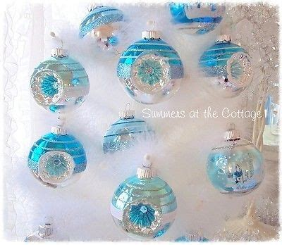 aqua blue christmas lights holiday inn glass christmas tree ornament shabby light