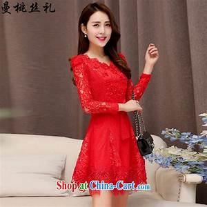 Cayman commercial silk dresses dresses 2015 spring Korean fashion style red bridal wedding ...