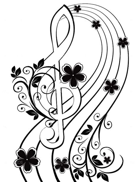 musical background   treble clef   flower pattern