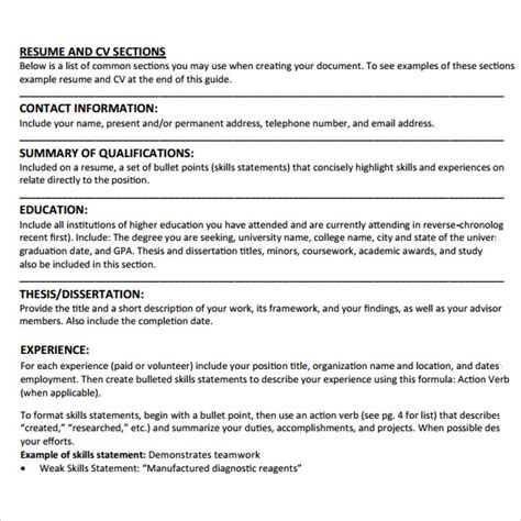 Exle Of Simple Curriculum Vitae For Students by Student Cv Template 7 Documents In Pdf