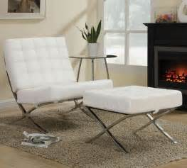 modern livingroom chairs furniture contemporary white leather chair ottoman with chrome base in modern living room