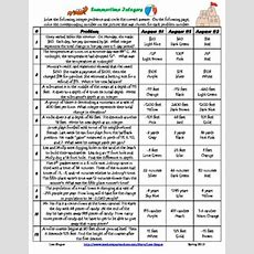 Free All Operation Integer Word Problems Summertime Coloring Activity