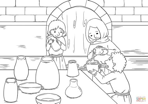 The Widow And Her Sons Pour Oil Into All The Jars Coloring