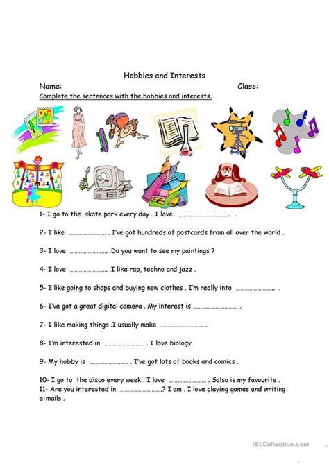 hobbies  interests worksheet  esl printable