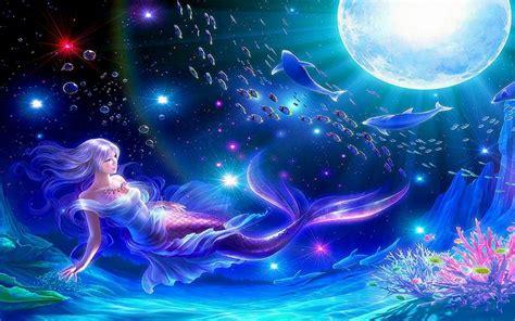 mermaid wallpaper moon mermaids dolphins underwater 1280x800 Underwater