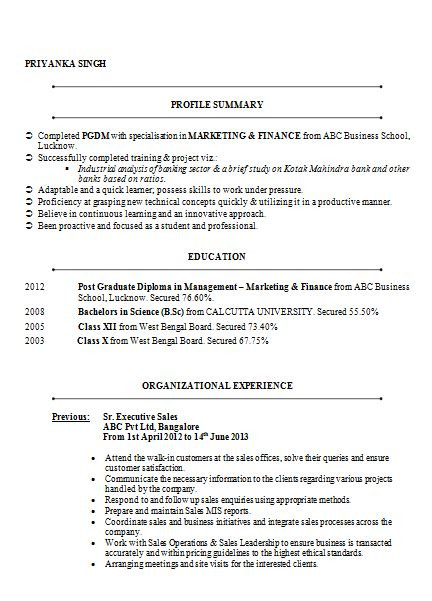 cv  resume samples    mba