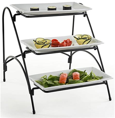 tier buffet stand porcelain dishes  wire rack