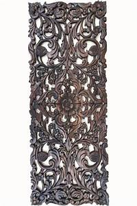 Asian home decor floral wood carved wall panel art