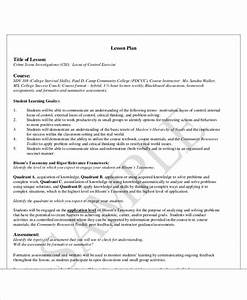 40 lesson plan templates free premium templates With college level lesson plan template