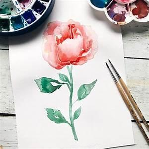 Aquarell Blumen Malen : rose in aquarell m dchenkunst ~ Frokenaadalensverden.com Haus und Dekorationen