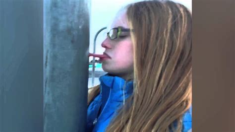 girl  tongue stuck  frozen pole youtube