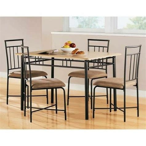 piece dining set wood metal  chairs  kitchen table