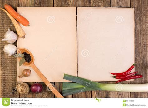 Cookery Book On Wooden Background Stock Image   Image