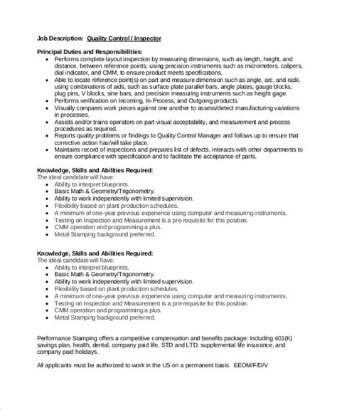 Quality Inspector Description For Resume by Quality Description 11 Free Pdf Word Documents Free Premium Templates