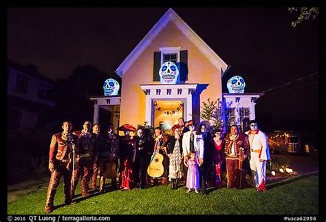 picturephoto halloween revelers  decorated house