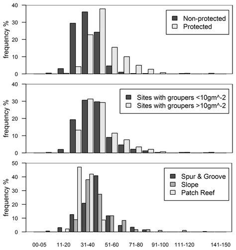 grouper total length lionfish class histograms cm categories invasive examining caribbean relationship native between re figure