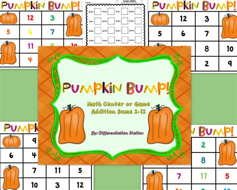 free pumpkin bump math center and printable