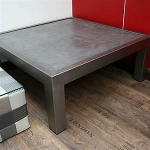 Table Basse En Beton : table basse en acier avec plateau b ton ~ Teatrodelosmanantiales.com Idées de Décoration