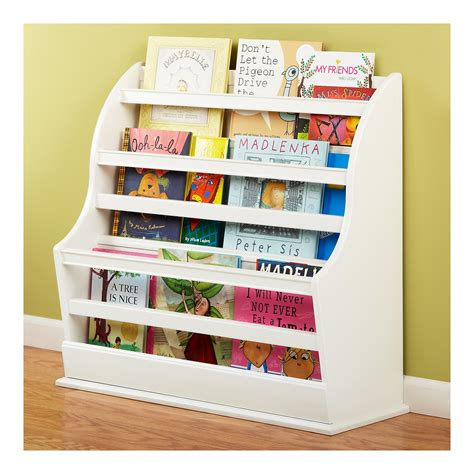 white childrens bookshelf is front facing bookcase 1014
