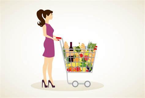 girl  shopping cart full  groc illustrations