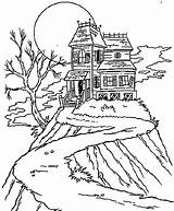 Coloring Halloween Haunted Pages Ghost Houses Printable sketch template