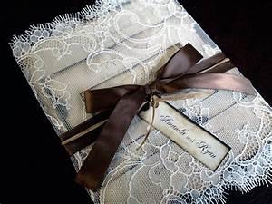 Vintage elegant ribbon lace wrapped wedding invitation for Wedding invitations wrapped in ribbon
