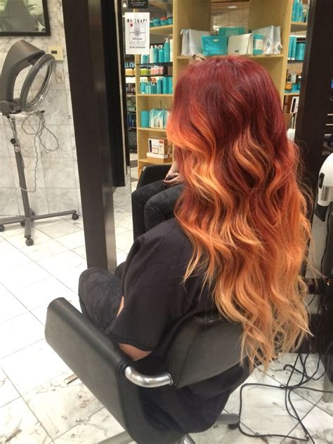 red  orange  peach ombre  extensions hair