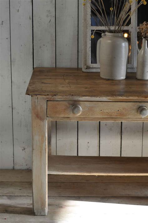 Antique Pine Vintage Kitchen Island Two Drawer Console