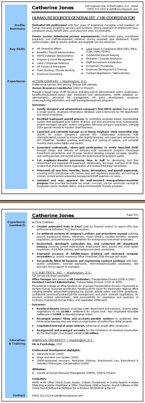 Human Resource Generalist Resume by Human Resources Generalist Resume Sle Work Resume