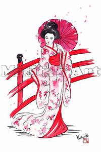 "Print of ""Geisha on Bridge"" by Martina Gallo- print from"