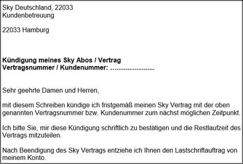 sky kuendigen abo kuendigungsschreiben fuer word