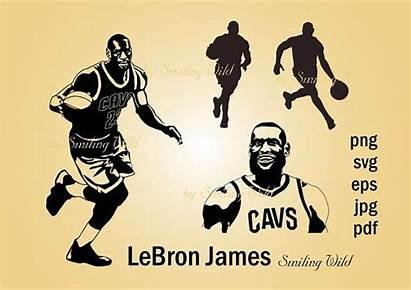 Lebron James Silhouette Basketball Player Clipart Cavs