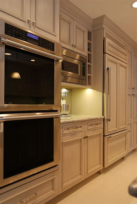 built  refrigerator microwave double oven wall