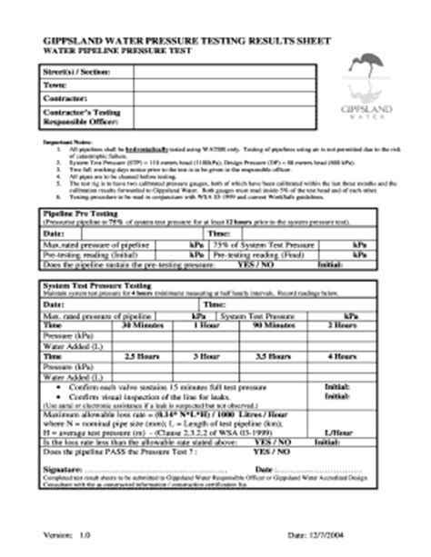 Hydrostatic Pressure Test Report Template