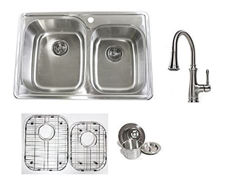 kitchen sink with cabinet 33 inch stainless steel top mount 60 40 bowl 6040