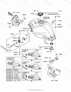 Kawasaki Motorcycle 2009 Oem Parts Diagram For Fuel Tank