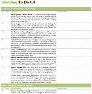 wedding list to do template