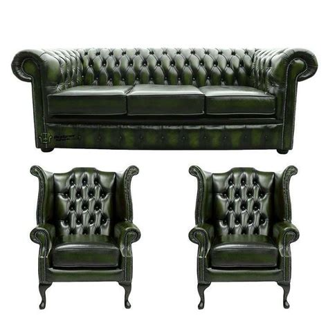 Settee Suites by Chesterfield 3 Seater Wing Wing Chairs Antique Green