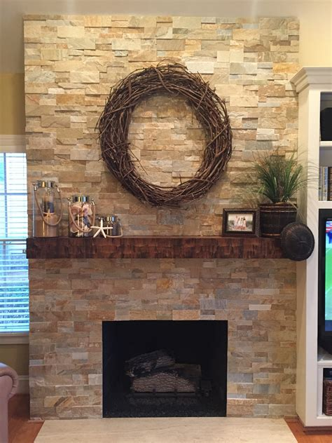 Ideas Stacked Stone Fireplace For Classic Interior Heater