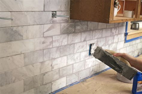 best grout for kitchen backsplash the craft patch diy marble subway tile backsplash tips tricks and what not to do
